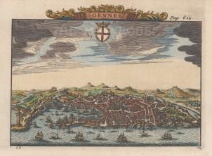 """van der Aa: Genoa. 1727. A hand coloured original antique copper engraving. 7"""" x 5"""". [ITp1946]"""