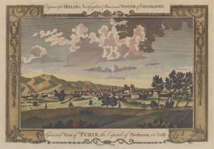 "Millar: Turin. 1770. A hand coloured original antique copper engraving. 11"" x 8"". [ITp1966]"