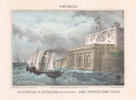 Venice: Castello di San Andrea. View at the entrance to the port of the Lido.