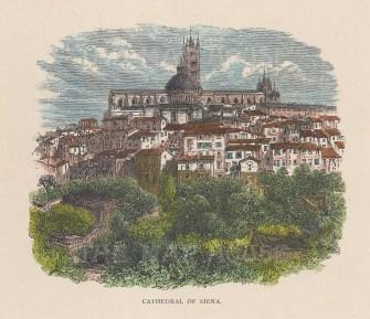"Picturesque Europe: Siena. c1875. A hand coloured original antique wood engraving. 6"" x 5"". [ITp1993]"