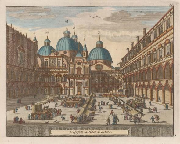 "van der Aa: Piazza San Marco, Venice. 1727. A hand coloured original antique copper engraving. 7"" x 5"". [ITp2019]"
