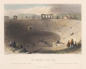 "Fisher: Amphitheatre, Verona. c1840. A hand coloured original antique steel engraving. 9"" x 7"". [ITp2025]"
