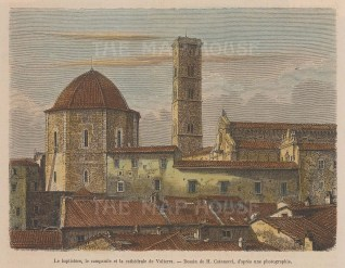 "Garnier: Volterra. 1876. A hand coloured original antique wood engraving. 7"" x 5"". [ITp2030]"