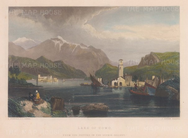 "Stanfield: Lake Como. 1850. A hand coloured original antique steel engraving. 11"" x 8"". [ITp2081]"