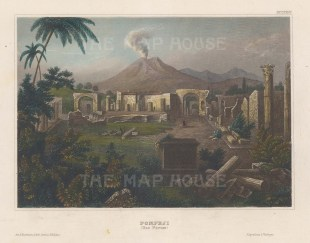 "Meyer: Pompeii. c1840. A hand coloured original antique steel engraving. 6"" x 4"". [ITp2162]"