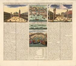 "Chatelain: Piazza San Marco, Venice. 1719. A hand coloured original antique copper engraving. 18"" x 16"". [ITp2177]"
