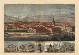 Panoramic city view with vignettes of principal buildings and key to mountain heights in title.