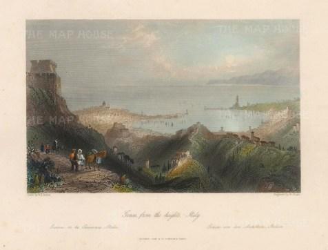 "Fisher: Genoa. c1840. A hand coloured original antique steel engraving. 8"" x 7"". [ITp2216]"