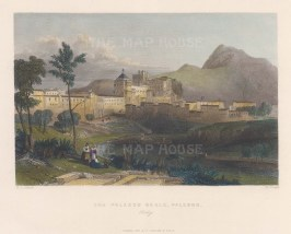 """Fisher: Palazzo Reale, Palermo. c1840. A hand coloured original antique steel engraving. 8"""" x 7"""". [ITp2220]"""