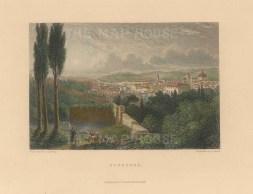 "Fullarton: Florence. 1856. A hand coloured original antique steel engraving. 5"" x 4"". [ITp2223]"