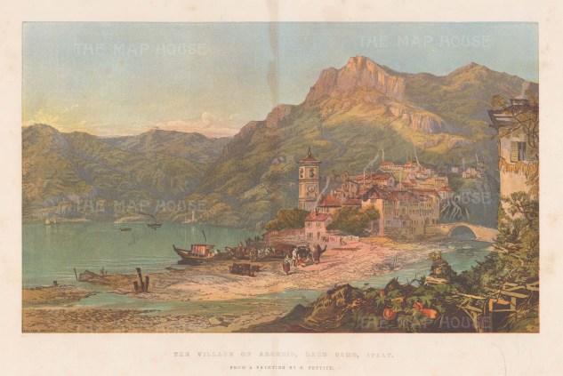 "Illustrated London News: Lake Como. 1863. An original antique chromolithograph. 20"" x 14"". [ITp2238]"
