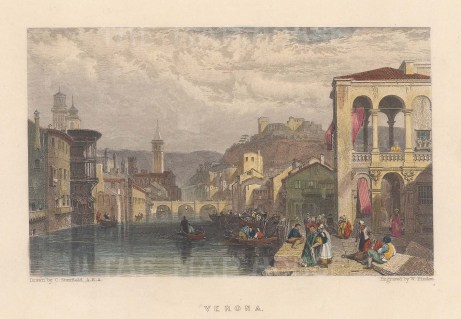"Fullarton: Verona. 1856. A hand coloured original antique steel engraving. 5"" x 4"". [ITp2283]"