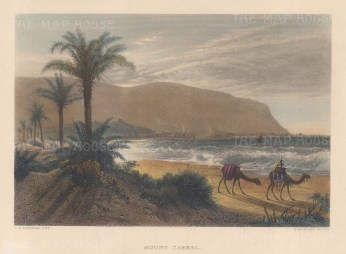 "Wilson: Mount Caramel.1886. A hand coloured original antique steel engraving. 10"" x 6"". [MEASTp1716]"
