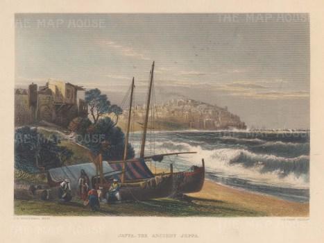 "Wilson: Tel Aviv.1886. A hand coloured original antique steel engraving. 10"" x 6"". [MEASTp1717]"