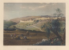 "Wilson: Jerusalem.1886. A hand coloured original antique steel engraving. 10"" x 6"". [MEASTp1722]"