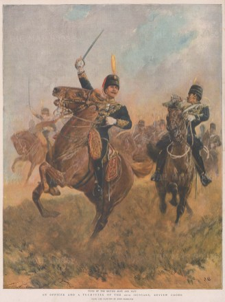 20th Hussars, amalgamated to the King's Royal Hussars. Officer and Trumpeter, Review Order.