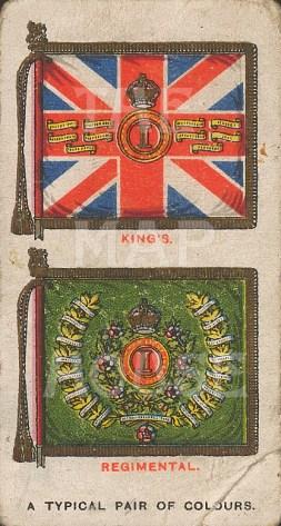 """Cigarette Cards: King's and Regimental colours. c1915. An original antique chromolithograph. 2"""" x 3"""". [MILp119]"""