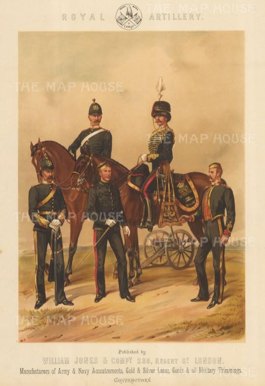 "Jones & Co.: Royal Artillery. 1886. An original antique chromolithograph. 13"" x 18"". [MILp140]"