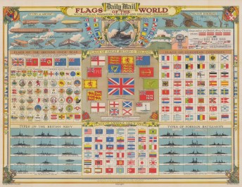 Large folding poster from the Daily Mail illustrating warships, aircraft flags and artillery relevant to the Great War.