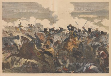 Battle of Balaclava. Charge of the Light Brigade. The infamous charge of the light brigade of Royal Lancers led by Lord Cardigan.