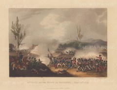 Attack on the Road to Bayonne 1813. Sir John Hope advancing. After William Heath.