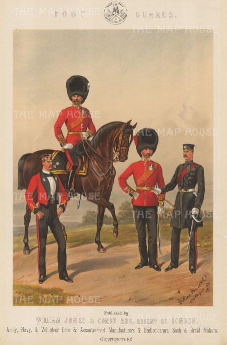 Royal Scot Fusilier on horse with a Grenadier and a Coldstream on foot.