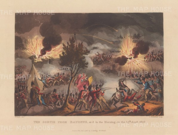 Battle of Bayonne. Siege by Lt General Hope in the last battle of the peninsular campaign. After William Heath.