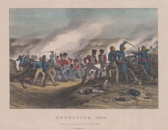 Battle of Bhurtpore 1826. Text on verso.