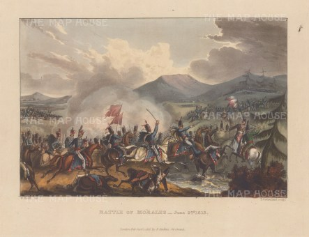 Battle of Morales,1813. British Hussars defeating the French cavalry. After William Heath.