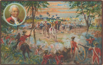 Battle of Plassey. British East India Company victory over the Nawab of Bengal and the French 1757.