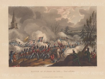 Battle of St Jean De Luz, 1813. Squirmish during the Battle of the Nive and Arcangues. After William Heath.