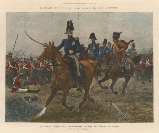 Battle of Vittoria. Wellington leading the Third Division towards the centre of attack.