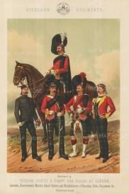 "Jones & Co.: Highland Regiments. c1886. An original antique chromolithograph. 13"" x 18"". [MILp6]"
