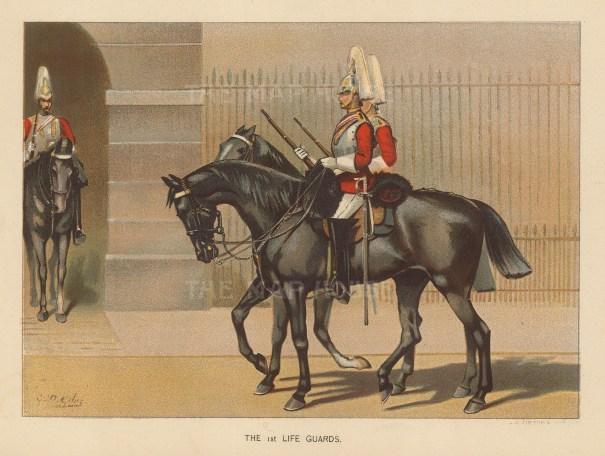 "Richards: Life Guards. c1890. An original antique chromolithograph. 7"" x 9"". [MILp82]"