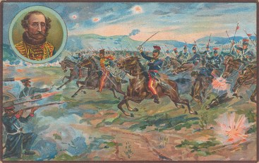 Charge of Light Brigade. Battle of Balaclava with portrait of Lord Scarlett.