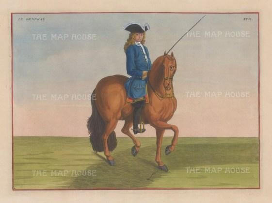 "Eisenberg: Le General. 1727. A hand coloured original antique copper engraving. 13"" x 10"". [NATHISp4213]"