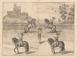 Four horses with riders performing for a central figure. Plate 29.