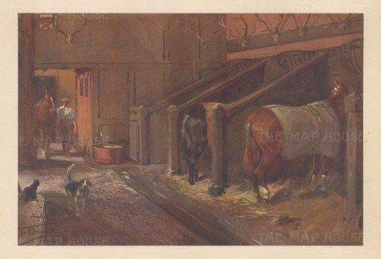 18th century stables at Holnicote Porlock Vale By the artist known as '.the grand old man of British sporting art'.