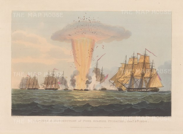 Battle of Cape St Mary 1804. The British Squadron attack of Spanish frigates laden with gold from the Americas caused Spain to declare war. After Nicholas Pocock. Napoleonic Wars.