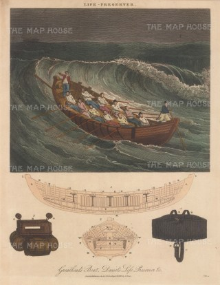 Henry Greathead's first Life Boat with plan, a buoy of barrels and cork, and early self inflatable life jacket.