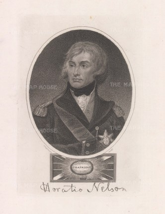 """Wilkes: Admiral Lord Horatio Nelson. 1820. An original antique copper engraving. 5"""" x 7"""". [NAVp123]"""