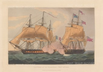 Capture of La Clorinde by HMS Eurotas 1814. The frigate was renamed HMS Aurora. After Thomas Whitcombe. Napoleonic Wars.