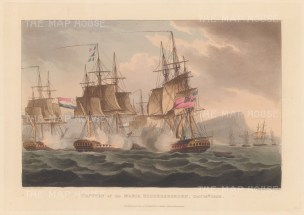 Capture of the Maria Riggersbergen of the Dutch East India Fleet by HMS Caroline 1806. After Thomas Whitcombe. Napoleonic Wars.