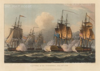 Capture of the Spanish frigate Santa Dorotea by HMS Lion off Cartagena in 1798. After Thomas Whitcombe. French Revolutionary Wars.