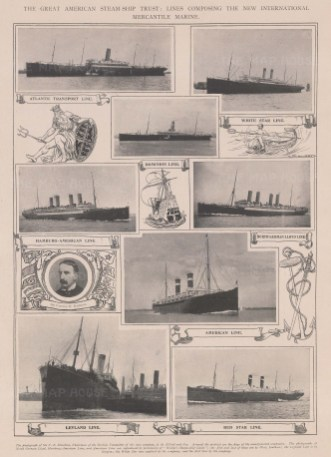 8 views of ships from numerous lines including the Red Star and White Star.