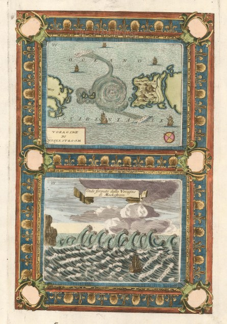 Double view with decorative border showing the Maelstrom, a system of whirlpools first mentioned by ancient Greek historian Pytheas and the large waves that it creates.
