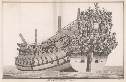 """Charnock: French Second Rate. 1801. An original antique copper engraving. 18"""" x 12"""". [NAVp60]"""