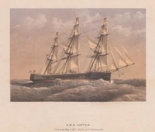 "Griffin & Co.: HMS Captain. 1872. An original antique chromolithograph. 9"" x 7"". [NAVp63]"