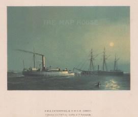 """Griffin & Co.: HMS Enterprise & HMGB Comet. 1872. An original antique chromolithograph. 9"""" x 7"""". [NAVp66]"""