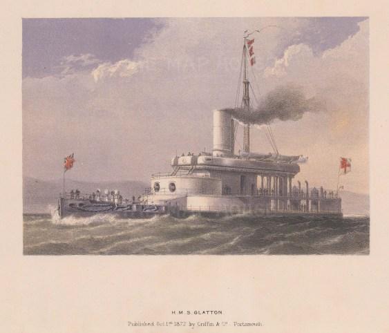 "Griffin & Co.: HMS Glatton. 1872. An original antique chromolithograph. 9"" x 7"". [NAVp67]"